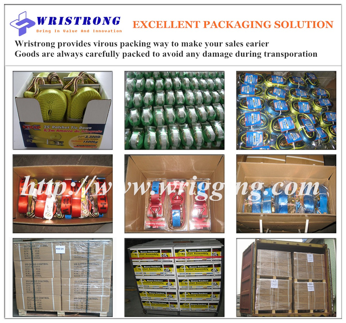 Packages of ratchet straps-Wristrong-australian-standard